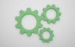 Kugghjulsymbol 3d stock illustrationer