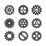 Kugghjulsymbolsuppsättning Vektoröverföringskuggen rullar och kugghjul som isoleras på vit bakgrund stock illustrationer