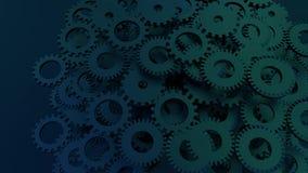 Kugghjulsystemanimering Rörelsedesignen av den sömlösa öglan förser med kuggar rotation vektor illustrationer