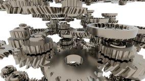 Kugghjulsystemanimering Rörelsedesignen av den sömlösa öglan förser med kuggar rotation stock illustrationer