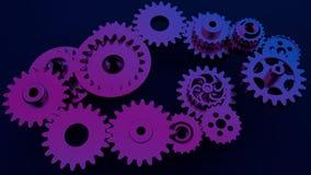 Kugghjulsystemanimering Rörelsedesignen av den sömlösa öglan förser med kuggar rotation Sömlösa kretsade 3d framför rörelsedesign stock illustrationer
