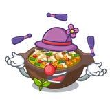 Kuglarski minestrone talerz nad maskotka stół royalty ilustracja