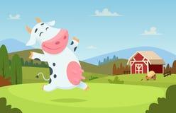 Kuh am Bauernhof Feldranch-Milchtiere, die auf der Gras alpes Landschaftsvektorzeichentrickfilm-figur essen und spielen
