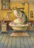 Kuh im Badezimmer Stockbild
