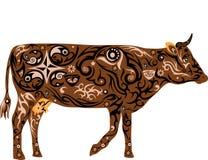 Kuh mit einem Muster von den Blumen, eine Tierillustration mit einem Muster, eine Milchkuh mit einem Euter, das Säugetier, das Ha Lizenzfreies Stockbild