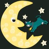 Kuh rüttelt Mond und Sterne auf Lizenzfreie Stockbilder