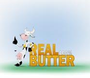 Kuh und die wirkliche Butter der Wörter Stockfoto