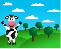 Kuh und grüne Hügel mit Bäumen Lizenzfreies Stockfoto