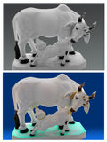 Kuh- und Kalbstatue. Stockbilder