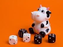 Kuh und Würfel Stockbild
