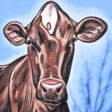 Kuh-Wandgemälde auf Backsteinbau - Decorah, Iowa Lizenzfreies Stockfoto