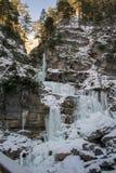Kuhflucht in Farchant bevroren waterval Stock Afbeeldingen
