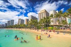 Kuhio acumula la playa de Waikiki Fotografía de archivo
