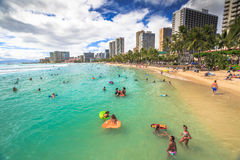 Kuhio Beach boogie boarding Royalty Free Stock Image