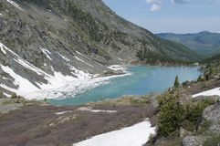 Kuiguk mountain lake, Altai Republic. Turquoise mountain lake, lake in the mountains, green water, pure mountain lake, snow-capped mountains Stock Image