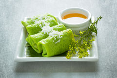 Kuih Dadar, Malaysia. Kuih Dadar are green crepes from Malaysia Stock Images