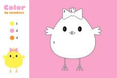 Kuiken in beeldverhaalstijl, kleur door aantal, Pasen-onderwijsdocument spel voor de ontwikkeling van kinderen, kleurende pagina, stock illustratie