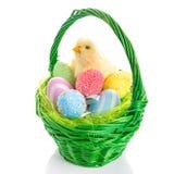 Kuiken en de mand van Pasen met eieren Stock Afbeeldingen