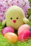 Kuiken met bloemen en eieren stock afbeelding