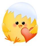 Kuiken met hart stock illustratie