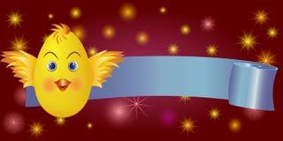 Kuiken van Pasen van de lintbanner het Gelukkige Royalty-vrije Stock Afbeelding