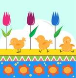 Kuikens en Tulpen Royalty-vrije Stock Afbeeldingen