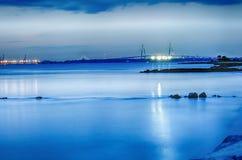 Kuiper River Bridge bij nacht Charleston South Carolina Royalty-vrije Stock Afbeeldingen