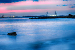 Kuiper River Bridge bij nacht Charleston South Carolina Royalty-vrije Stock Foto's