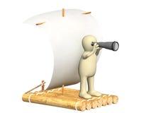 Kukła z spyglass na drewnianej tratwie royalty ilustracja