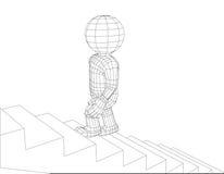 Kukły 3d mężczyzna chodzący schodki Zdjęcie Royalty Free