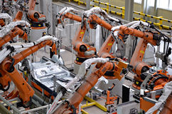 Kuka robot. Automatic robot hand for welding body stock photography