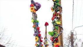Kukeri - фестиваль masquerade в Rakovski, Болгарии видеоматериал