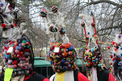 Kukeri Bulgarian traditions. The pictuer is shoot in Bulgaria in city park Royalty Free Stock Images