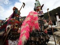 Kukeri dans Shiroka Laka, Bulgarie Images libres de droits