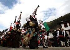 Kukeri dans Shiroka Laka, Bulgarie Photo stock