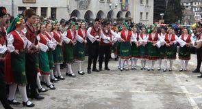 Kukeri en Shiroka Laka, Bulgaria Imagen de archivo libre de regalías