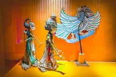 Kukiełkowy wayang kulit przy Kukiełkowym muzeum Charaktery od Ramayana opowieści Stary miasto turystyki teren obrazy stock
