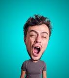 Kukiełkowy ziewanie mężczyzna z dużą głową Fotografia Royalty Free