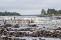 Kukkola急流在北瑞典 库存照片