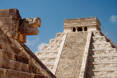 Kukulcan Mayan pyramid and ruins, Mexico Royalty Free Stock Image