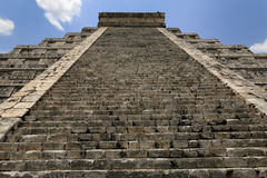 Kukulcan Pyramid at Chichten Itza. 91 steps in Kukulcan Pyramid at Chichten Itza. The staircases rise at an angle of 45 degrees to the horizontal, and the height Royalty Free Stock Image