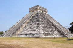 Kukulkan pyramid. And lawn with dry grass in Chichen Itza, Mexico Royalty Free Stock Images
