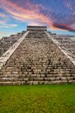 Kukulkan pyramid in Chichen Itza. At sunset, Mexico Stock Image