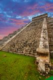 Kukulkan pyramid in Chichen Itza. At sunset, Mexico Stock Photo