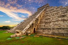 Kukulkan pyramid in Chichen Itza. At sunset, Mexico Royalty Free Stock Photo