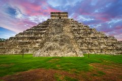 Kukulkan pyramid in Chichen Itza. At sunset, Mexico Stock Photos