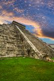 Kukulkan pyramid in Chichen Itza. At sunset, Mexico Royalty Free Stock Image