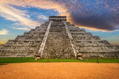 Kukulkan pyramid in Chichen Itza. At sunset, Mexico Stock Images