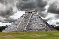 Kukulkan Pyramid in Chichen Itza on the Yucatan. Landscape Stock Image