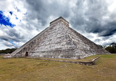 Kukulkan Pyramid in Chichen Itza on the Yucatan, Mexico .Landscape in a sunny day Royalty Free Stock Images